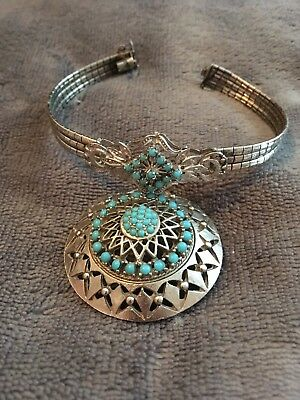 Silver & turquoise bracelet & brooch. Native American style. pretty combo