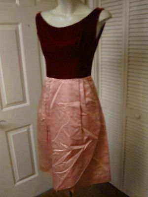 Vintage 50's Red Velvet Pink Satin Saron Skirt Party Prom Dance Dress As Is Xs S