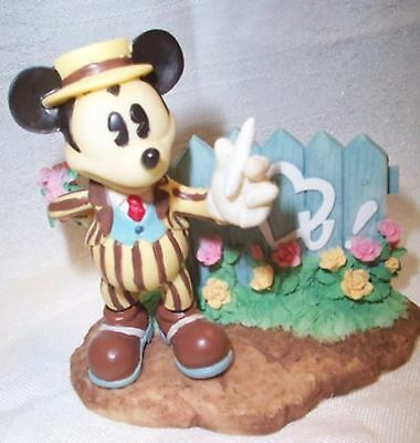 Mickey Mouse Writing On Fence Figurine Somebody Loves Me #292869 Disney Enesco
