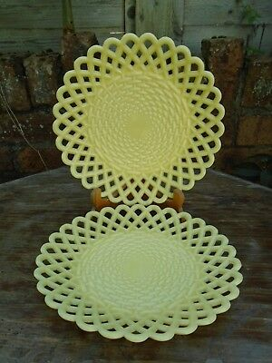 Sowerby Glass two (2) basket weave yellow Plates