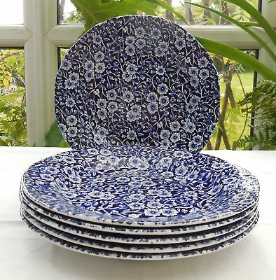 Vintage Burleigh Blue & White Calico 21.5cm Salad Lunch Plates x 6