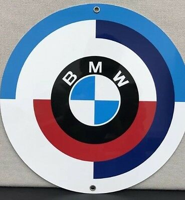 Bmw 70's Logo Metal Garage Sign Reproduction
