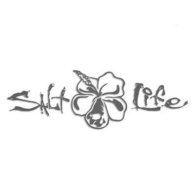 Salt Life Signature Hibiscus Decal Silver Medium