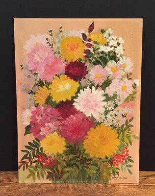 Vintage Oil On Board Floral Painting Signed Barbara Baxter Antique Mid Century