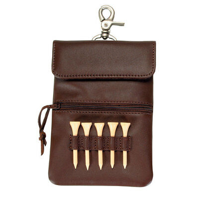 Royce Leather Clip-On Golf Accessory Bag in Coco