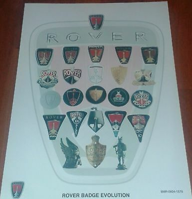 Rover Badge History Poster. New. A4 Size. Car Badge History Poster.