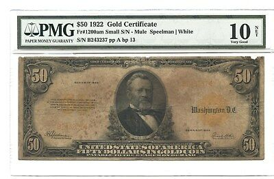 1922 $50 Gold Certificate, PMG Very Good 10, Fr#1200am Small S/N-Mule