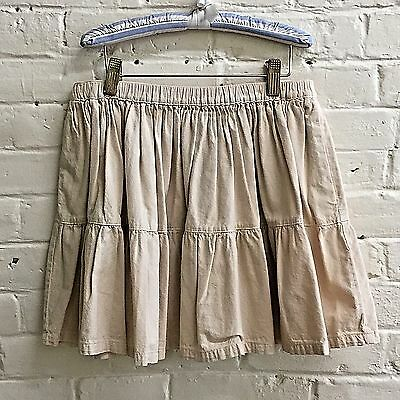 Vtg Gap girl L SOFT beige khaki elastic waist cotton skirt tiered EUC