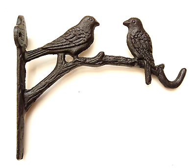 Cast Iron Ornate Two Birds On The Tree Hanging Flower Basket Bracke in 3 colours