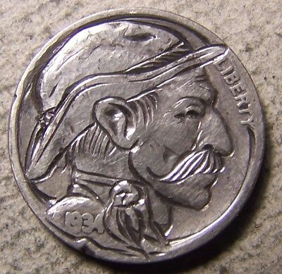 """Classy Hand Carved Original Hobo Nickel, Coin Art, """" UNCLE BUCK from WYOMING.. """""""