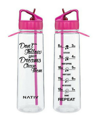 Pink NATIV dreams motivational water bottle with times markings, BPA free