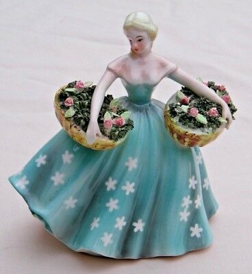 Vintage Lefton Planter Beautiful Blonde Young Lady with Baskets of Flowers #429