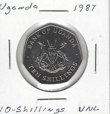 Uganda 10 Shillings, 1987, Uncirculated