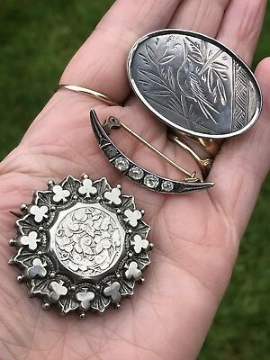 Antique Victorian /edwardian Sterling Silver Crescent Etc Sweetheart Brooch/pins