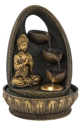 Buddha 3 Cup Water Fountain With LED Light - Indoor Water Feature - 240v Mains