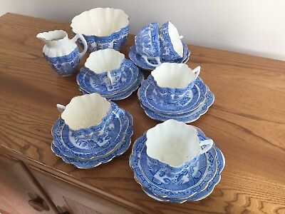 Antique Mayer and Sherratt Melba Blue and White Willow Tea set or service
