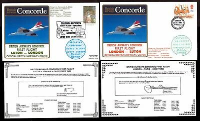 28-29.10.1983 Two Ba Concorde First Flown Covers~ London- Luton / Luton-London
