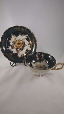 Royal Sealy Cup and Saucer Black and Gold with Yellow Rose