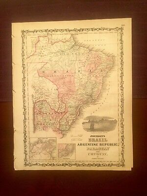 1863 Johnson & Ward Hand Colored Atlas Map:BRAZIL,ARGENTINE REB,PARAGUAY,URUGUAY