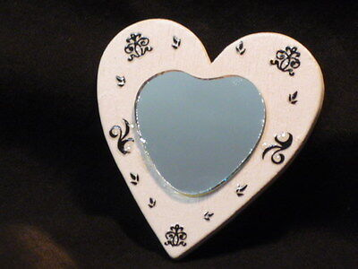 Dolls House Miniature Mirror Heart Shaped White with Black Details