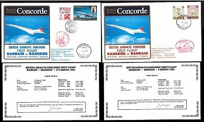 2-4.3.1985 Two Ba Concorde First Flown Covers~ Bahrain-Bangkok / Bangkok-Bahrain