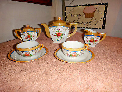 Vintage Luster Ware Child's Tea Set Hand Painted 9 Pieces