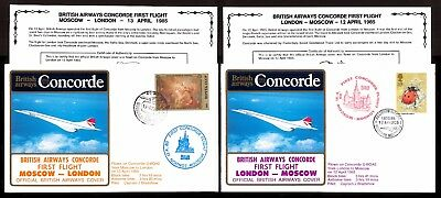 12-13.4.1985 Two Ba Concorde First Flown Covers~London-Moscow/ Moscow -London