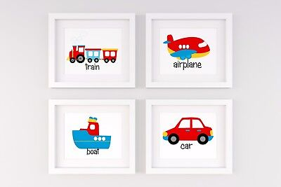 Set of 4 Nursery/home wall decor prints name transport car,boat,train,plane boys