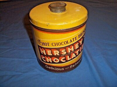 Vintage Hershey's Choclatier  Chocolate Drink Cocoa Tin Can Pa Cool Colors AV