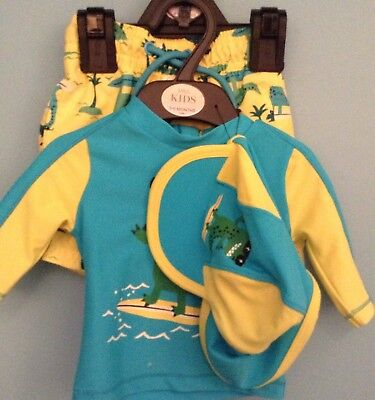 Bnwt M&s Baby Boys Sun Protection Outfit,age 3-6 Months, Hat,swim Shorts,top