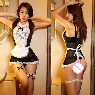 Naughty French Maid, sexy Fancy Dress Outfit, 8 piece set, UK Seller, BNWT