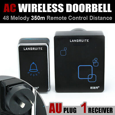 Black 350M AC 1 Transmitter 1 Receiver Wireless Remote Door Chime Bell 48 Chimes