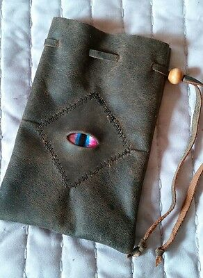 leather dice coin bag pouch medieval renaissance drawstring Stitched Eye D&D