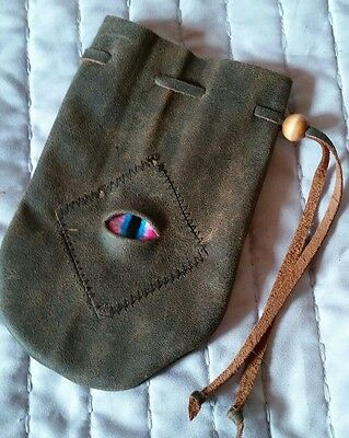 rounded leather dice coin bag pouch medieval renaissance drawstring Stitched Eye