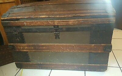 Antique Dome Top Trunk Chest Dark Wood and Metal