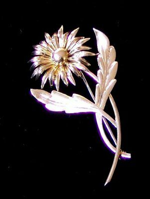 """VINTAGE 14K YELLOW GOLD AND STERLING SILVER FLORAL PIN or BROOCH by """"SYMMETALIC"""""""