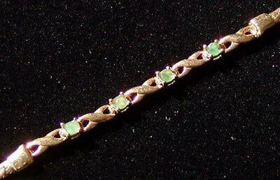 NATURAL EMERALD 18K YELLOW GOLD over STERLING SILVER BRAIDED BRACELET NEW OLD ST