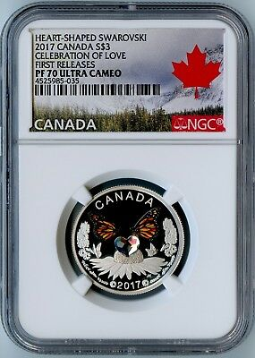 2017 Canada Ngc First Releases Pf70 Ucam Celebration Of Love S$3! Awesome Coin!