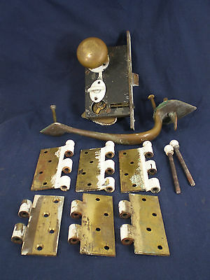 Antique Southern Brass Door Set - Lock Knobs Handles and Hinges