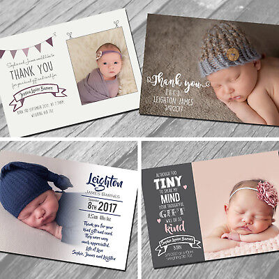 Baby Thank You Cards, Personalised, Birth Announcement, Boy or Girl