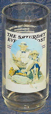 """ARBY'S NORMAN ROCKWELL """"THE SATURDAY EVENING POST: Catching The Big One""""  GLASS"""