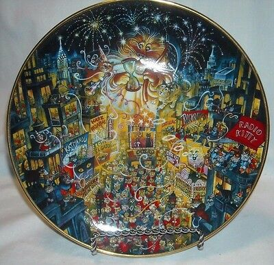 Bill Bell Cat Plate Purring In The Mew Year - Franklin Mint  ( Cat New Year )