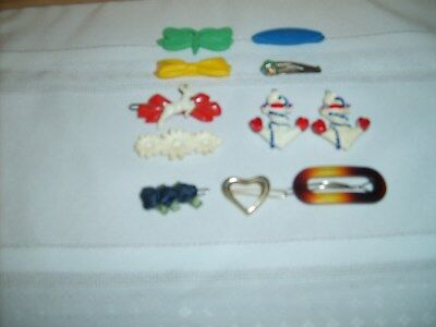 Vtg 11 Piece Lot Of Barrettes Plastic Metal Reindeer Butterfly Bow  Boat Anchors