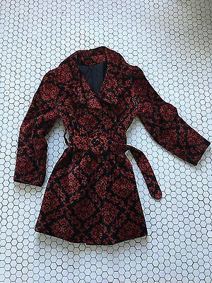 Vintage red and black trench coat