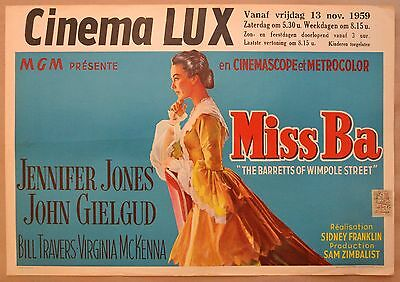 BARRETTS OF WIMPOLE STREET, 1957 Belgian poster,John Gielgud, Jennifer Jones
