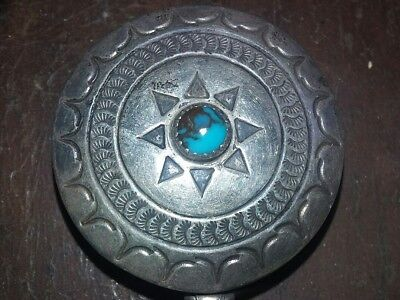 ClASSIC ~FRED HARVEY~ STERLING SILVER TURQUOISE PILL BOX..THE REAL DEAL C.1920'S