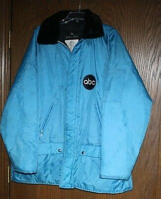 RARE VINTAGE ABC Wide World Of Sports Winter Coat XL Embroid Patch Fur Collar