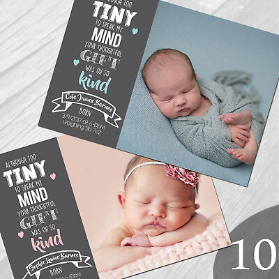 New Baby Thank You Cards, Personalised, Birth Announcement, Girl or Boy (NB10)