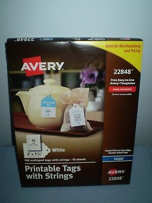 avery printable tags with strings scallop 2 x 1 25 inches pack of