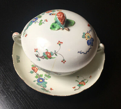 Antique French Faience 19Th Century Covered Bowl & Underplate Insect Flowers